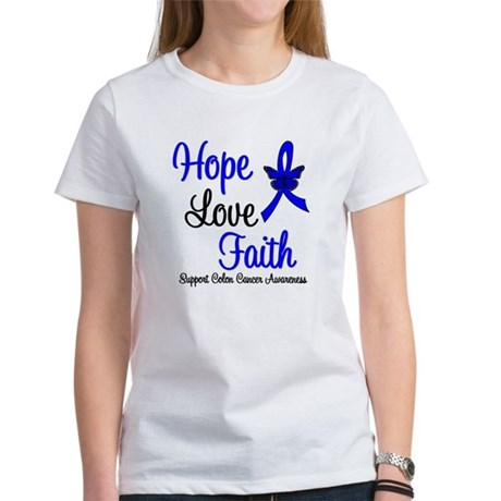 ColonCancer HopeLoveFaith Women's T-Shirt