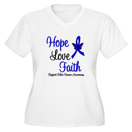 ColonCancer HopeLoveFaith Women's Plus Size V-Neck
