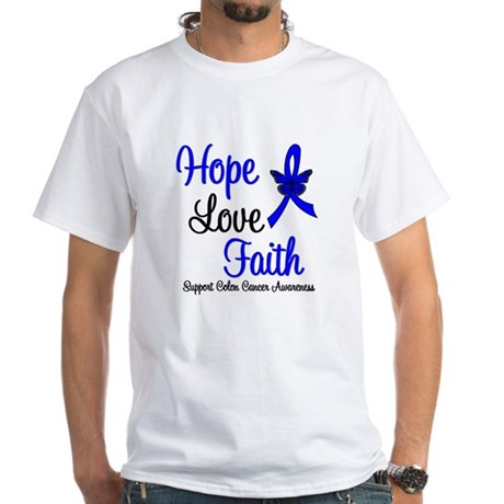 ColonCancer HopeLoveFaith White T-Shirt
