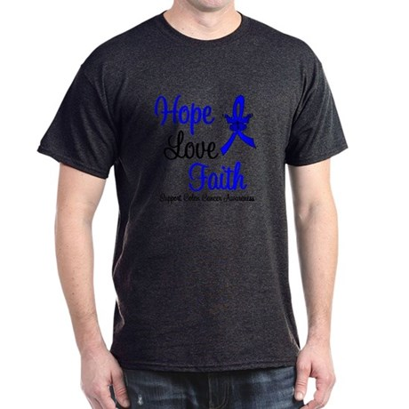 ColonCancer HopeLoveFaith Dark T-Shirt