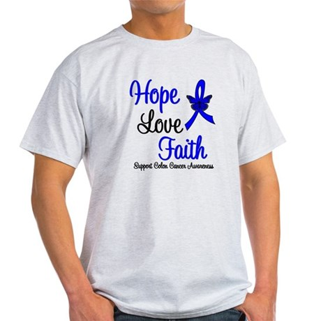 ColonCancer HopeLoveFaith Light T-Shirt