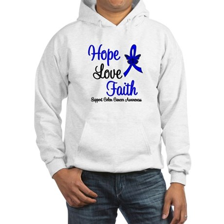 ColonCancer HopeLoveFaith Hooded Sweatshirt