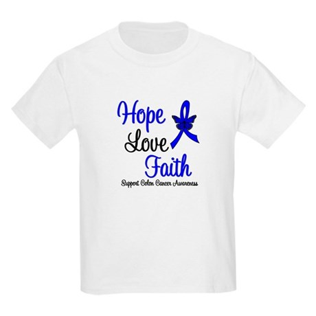ColonCancer HopeLoveFaith Kids Light T-Shirt