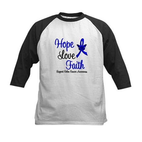 ColonCancer HopeLoveFaith Kids Baseball Jersey