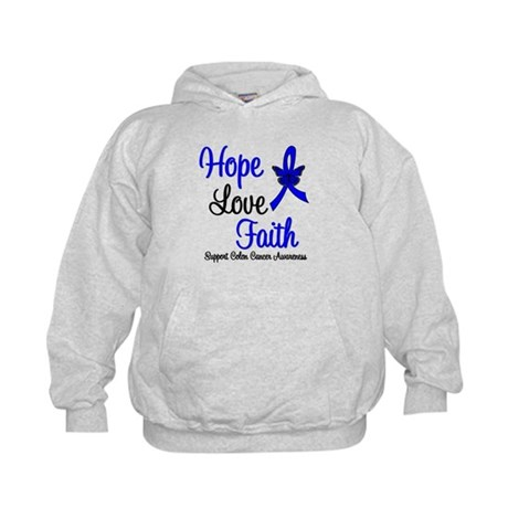 ColonCancer HopeLoveFaith Kids Hoodie