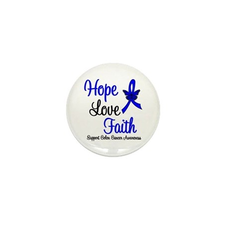 ColonCancer HopeLoveFaith Mini Button