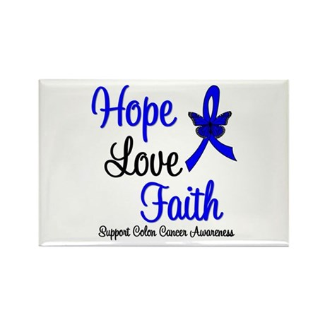 ColonCancer HopeLoveFaith Rectangle Magnet (100 pa