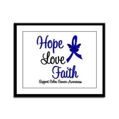 ColonCancer HopeLoveFaith Framed Panel Print
