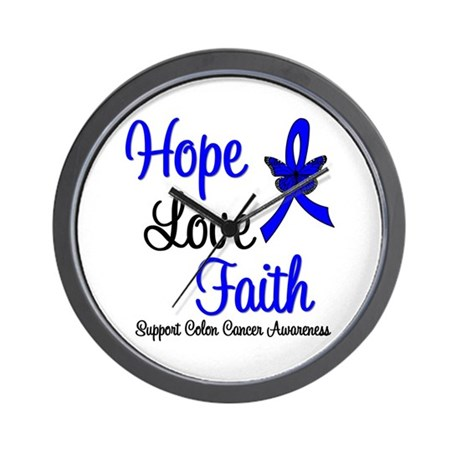 ColonCancer HopeLoveFaith Wall Clock