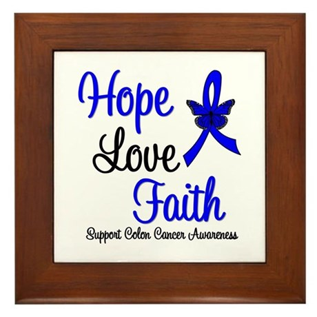 ColonCancer HopeLoveFaith Framed Tile