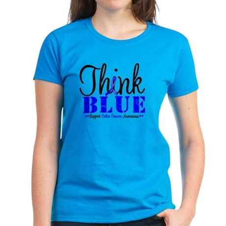 Colon Cancer Think Blue Women's Dark T-Shirt