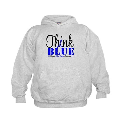 Colon Cancer Think Blue Kids Hoodie