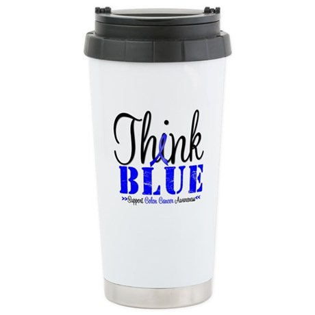 Colon Cancer Think Blue Ceramic Travel Mug