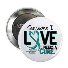 "Needs A Cure 2 OVARIAN CANCER 2.25"" Button"