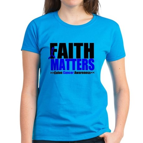 Colon Cancer Faith Matters Women's Dark T-Shirt