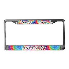 Peace Love Ancestry License Plate Frame