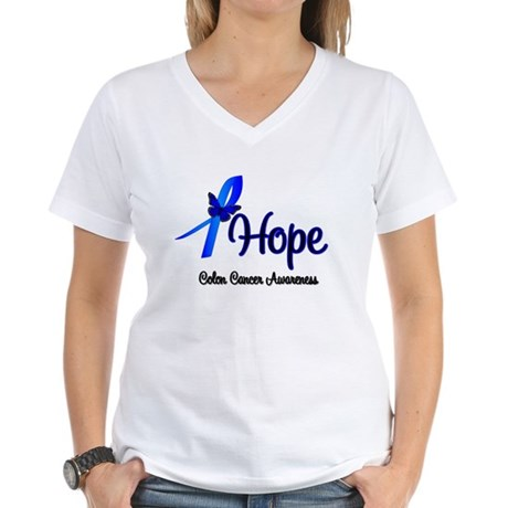 Hope Colon Cancer Women's V-Neck T-Shirt