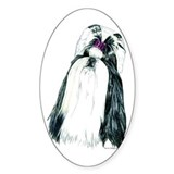 Black/White Shih Tzu Portrait Oval Decal