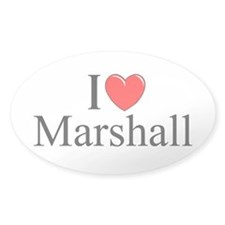 """I Love (Heart) Marshall"" Oval Decal"