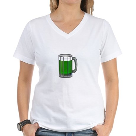 Mug of Green Beer Women's V-Neck T-Shirt