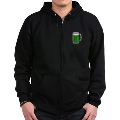 Mug of Green Beer Zip Hoodie (dark)