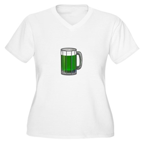 Mug of Green Beer Women's Plus Size V-Neck T-Shirt