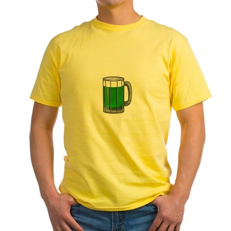 Mug of Green Beer Yellow T-Shirt