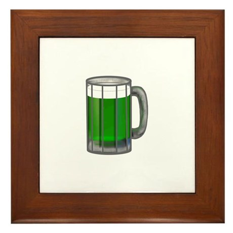 Mug of Green Beer Framed Tile