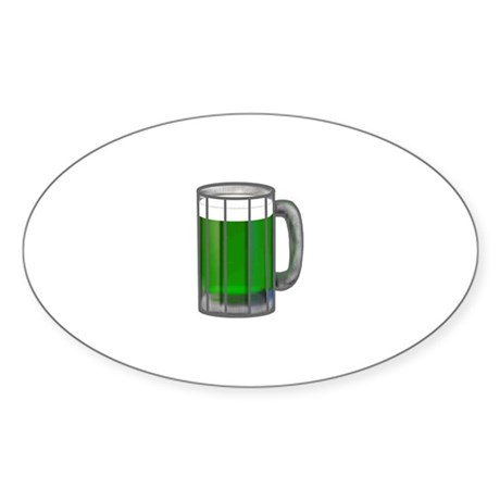 Mug of Green Beer Oval Sticker