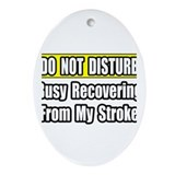 """Busy Recovering From Stroke"" Oval Ornament"