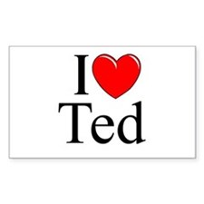 """""""I Love (Heart) Ted"""" Rectangle Decal"""