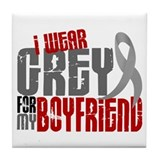 I Wear Grey For My Boyfriend 6 Tile Coaster