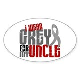 I Wear Grey For My Uncle 6 Oval Decal