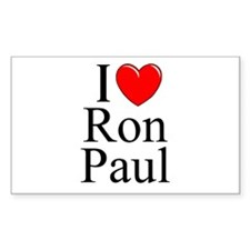 """I Love (Heart) Ron Paul"" Rectangle Decal"