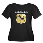 K9 Police Women's Plus Size Scoop Neck Dark T-Shir