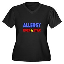 """Allergy Rock Star"" Women's Plus Size V-Neck Dark"