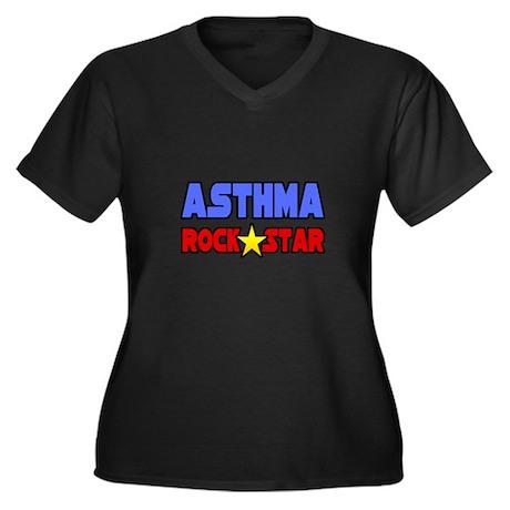 """Asthma Rock Star"" Women's Plus Size V-Neck Dark T"