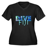Dive Fiji Women's Plus Size V-Neck Dark T-Shirt