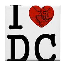 Cute I love dc Tile Coaster