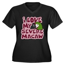 Kawaii Severe Macaw Women's Plus VNeck Dark Tee
