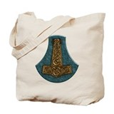 Thors Hammer on Green Stone Tote Bag