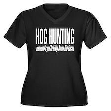 Hog Hunting Women's Plus Size V-Neck Dark T-Shirt