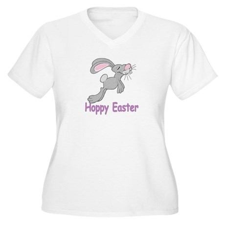 Hoppy Easter Women's Plus Size V-Neck T-Shirt