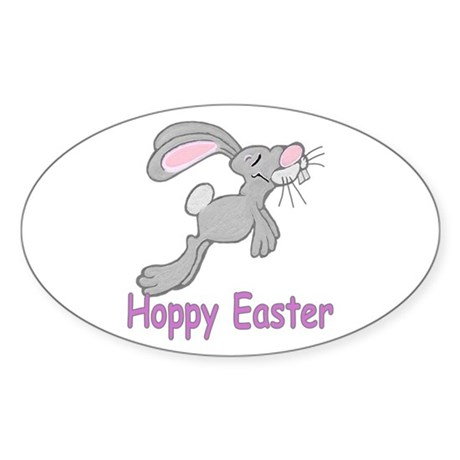 Hoppy Easter Oval Sticker