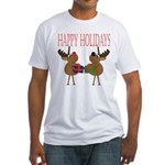 Christmas Reindeer Fitted T-Shirt