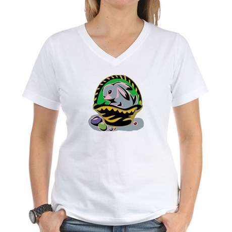 Easter Bunny Basket Women's V-Neck T-Shirt