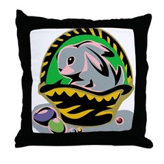 Easter Bunny Basket Throw Pillow