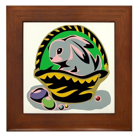 Easter Bunny Basket Framed Tile