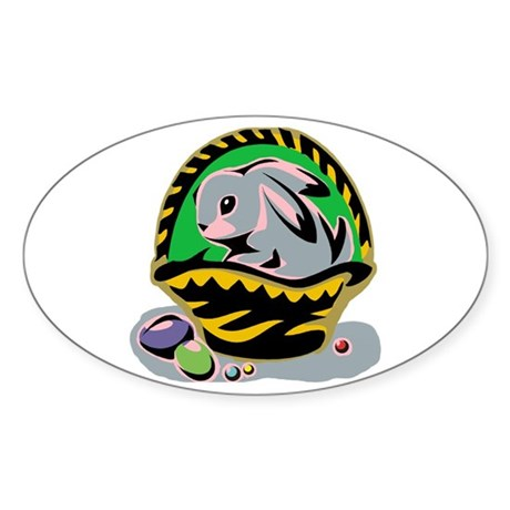 Easter Bunny Basket Oval Sticker