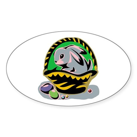 Easter Bunny Basket Oval Sticker (10 pk)